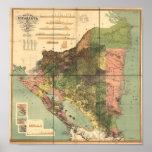 Poster Carte antique du Nicaragua 1898