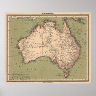 Poster Carte australienne vintage de topographie (1888)