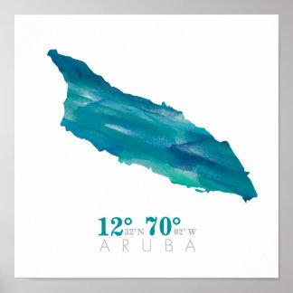 Poster Carte bleue d'Aruba d'aquarelle d'Aqua avec des