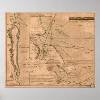 Poster Carte d'Amelia Island, la Floride 1770