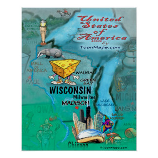 Poster Carte d'amusement du Wisconsin