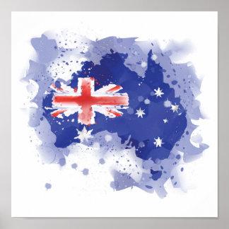 Poster Carte d'aquarelle de l'Australie