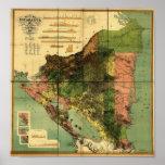 Poster Carte de 1898 fonctionnaires du Nicaragua