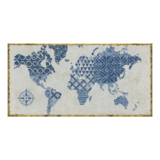 Poster Carte de batik de bleu d'indigo du monde