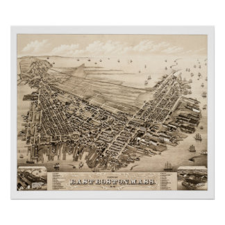 Poster Carte de Boston est, le Massachusetts en 1879