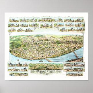 Poster Carte de Bradford le Massachusetts en 1892