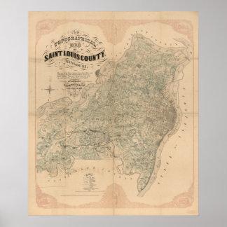 Poster Carte de cru du comté de Saint Louis