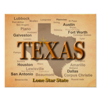 Poster Carte de cru du Texas