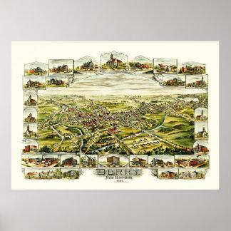 Poster Carte de Derry, New Hampshire à partir de 1898