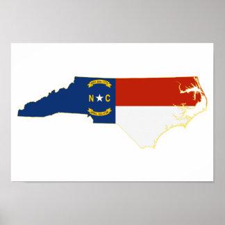 Poster Carte de drapeau d'état de la Caroline du Nord