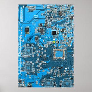 Poster Carte de geek d'ordinateur - bleu