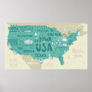 Poster Carte de griffonnage des Etats-Unis