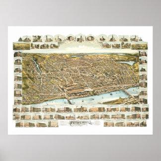 Poster Carte de Haverhill le Massachusetts à partir de