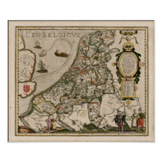 Poster Carte de la Hollande 1617 - Lion Belgicus