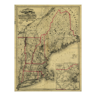 Poster Carte de la Nouvelle Angleterre et des environs