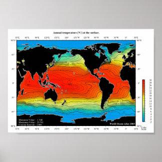 Poster Carte de la température d'océans du monde,