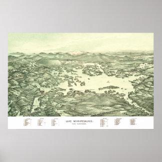 Poster Carte de lac Winnipesaukee à partir de 1903