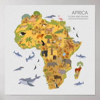 Poster Carte de l'Afrique | Flora et faune