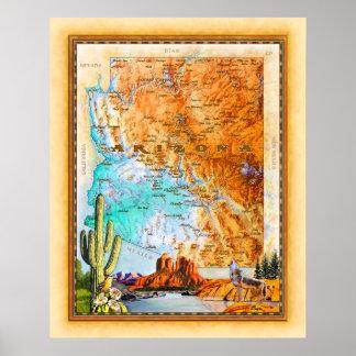 """Poster """"Carte de l'Arizona """""""