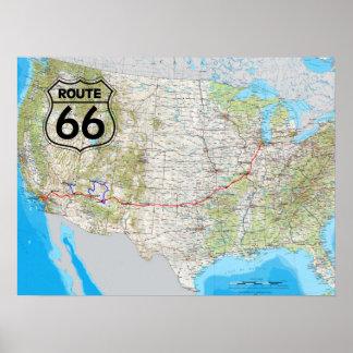 Poster Carte de l'itinéraire 66