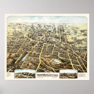 Poster Carte de New Britain, le Connecticut à partir de