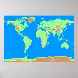 Poster Carte de Pixelated du monde
