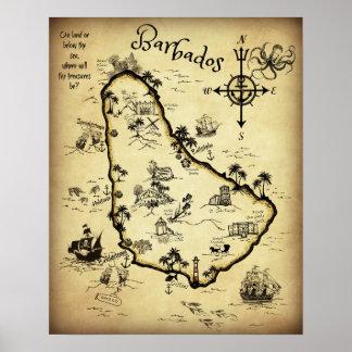 Poster Carte de trésor des Barbade et visite Auto-guidée