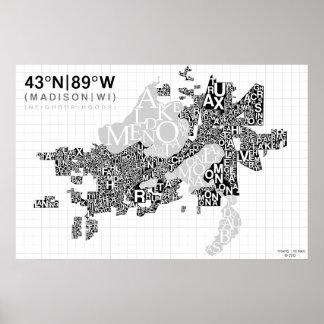 Poster Carte de typographie de voisinage de Madison - B&W