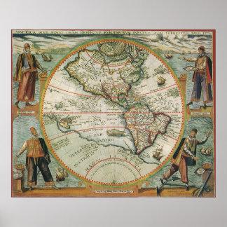 Poster Carte de Vieux Monde antique des Amériques, 1597