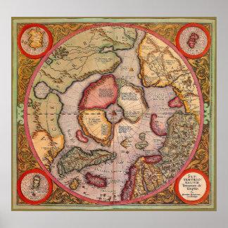 Poster Carte de Vieux Monde antique, Pôle Nord arctique,