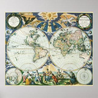 Poster Carte de Vieux Monde antique vintage, 1666 par des