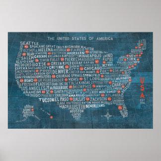 Poster Carte de ville des USA sur le bleu en bois