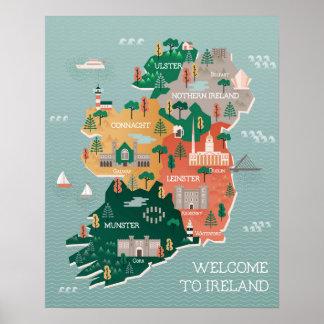 Poster Carte de voyage des points de repère et des villes