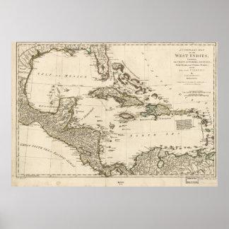 Poster Carte des Antilles par Samuel Dunn (1774)