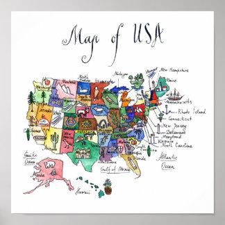 Poster Carte des attractions des Etats-Unis d'Amérique