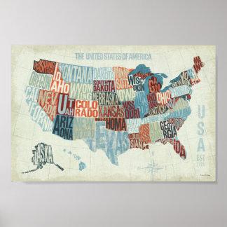 Poster Carte des Etats-Unis avec des états dans les mots