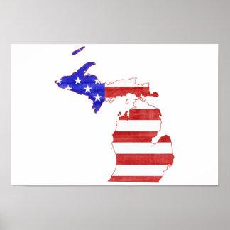 Poster Carte d'état de silhouette de drapeau du Michigan