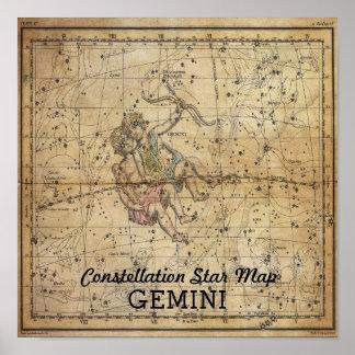 Poster Carte d'étoile de constellation de jumeaux de