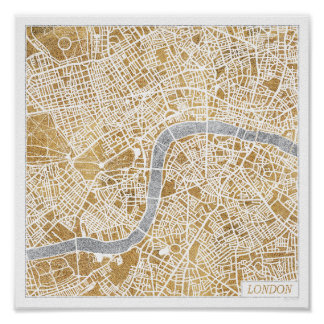Poster Carte dorée de ville de Londres