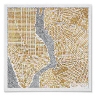 Poster Carte dorée de ville de New York