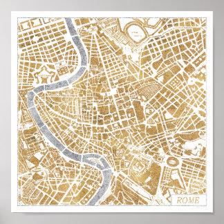 Poster Carte dorée de ville de Rome