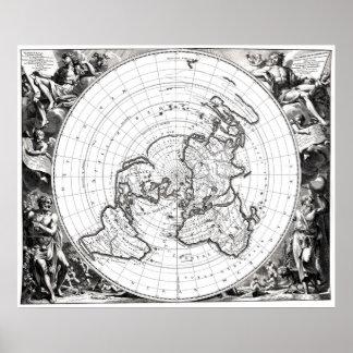 Poster Carte du carré et du plan de terre plat