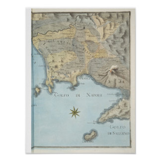 Poster Carte du Golfe de Naples et d'abords