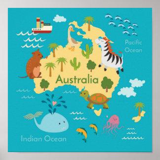 Poster Carte du monde d'animaux de l'Australie pour des