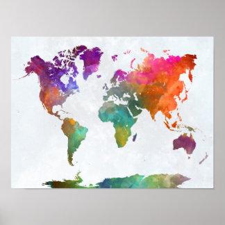 Poster Carte du monde dans l'aquarelle