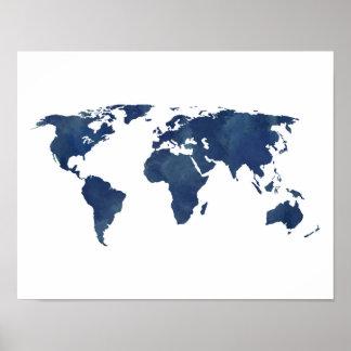 Poster Carte du monde d'aquarelle de bleu royal