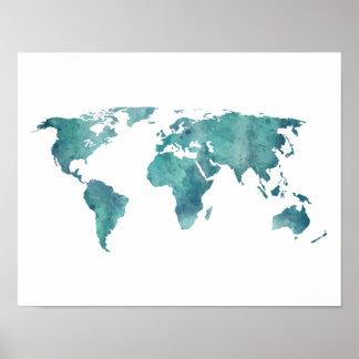 Poster Carte du monde d'aquarelle de turquoise