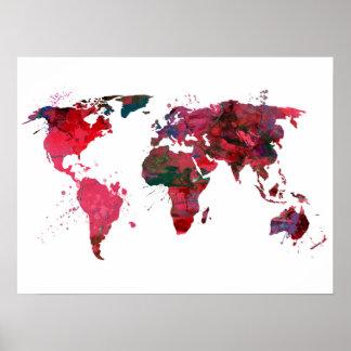 Poster Carte du monde d'art abstrait