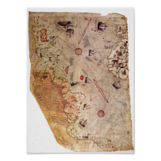 Poster Carte du monde de Piri Reis