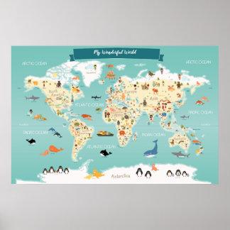 Poster Carte du monde d'enfants avec des animaux et des